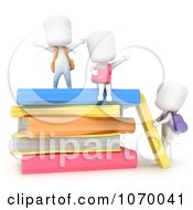 Clipart 3d Ivory Students With Text Books 1 Royalty Free CGI Illustration