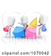 Clipart 3d Ivory Students With Shapes Royalty Free CGI Illustration