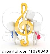 Clipart 3d Ivory Students With A G Clef Royalty Free CGI Illustration