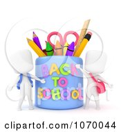 Clipart 3d Ivory Students By A Back To School Cup Royalty Free CGI Illustration