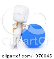 Clipart 3d Ivory School Boy Resting Against A Circle Royalty Free CGI Illustration