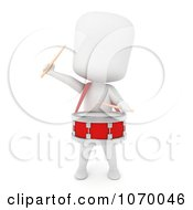 Clipart 3d Ivory Student Drummer Royalty Free CGI Illustration