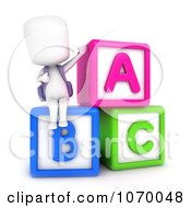 Clipart 3d Ivory Student Sitting On Letter Blocks Royalty Free CGI Illustration