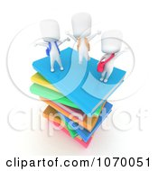 Clipart 3d Ivory Students With Text Books 2 Royalty Free CGI Illustration