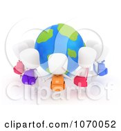 Clipart 3d Students Holding Hands Around A Globe Royalty Free CGI Illustration