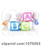 Clipart 3d Ivory Students With Letter Blocks Royalty Free CGI Illustration