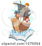 Stick Kids Playing Pirates On A Ship Emerging From A Book