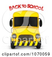 Clipart 3d Bus And Back To School Text Royalty Free CGI Illustration