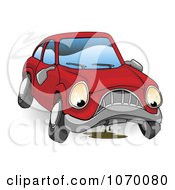 Clipart Sad Leaking Car Royalty Free Vector Illustration