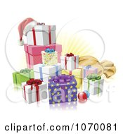 Clipart 3d Christmas Gifts With A Santa Hat Baubles And Sack Royalty Free Vector Illustration