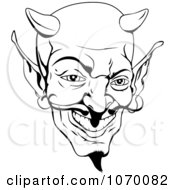 Clipart Black And White Devil Face Royalty Free Vector Illustration by AtStockIllustration