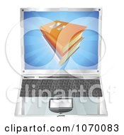 Clipart 3d Laptop And Books On The Screen Royalty Free Vector Illustration