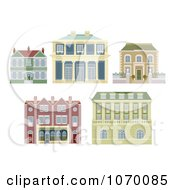 Clipart Old Fashioned Homes And Buildings Royalty Free Vector Illustration