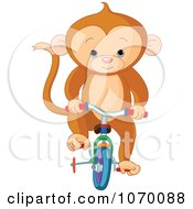 Clipart Cute Monkey Riding A Bike With Training Wheels Royalty Free Vector Illustration