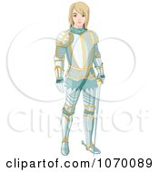 Clipart Young Knight Standing In Armor Royalty Free Vector Illustration by Pushkin