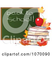 Clipart Autumn Back To School Chalk Board With Books Royalty Free Vector Illustration by Pushkin