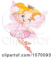 Clipart Happy Blond Fairy Princess Flying Royalty Free Vector Illustration