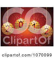 Clipart 3d Gold 2012 Star Christmas Ornaments Over Red Royalty Free Vector Illustration
