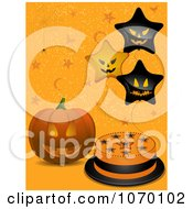 Clipart Jackolantern By A Halloween Cake And Star Balloons On Orange Royalty Free Vector Illustration by elaineitalia