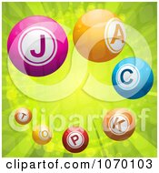 Clipart 3d Jackpot Lottery Balls On Green Rays Royalty Free Vector Illustration