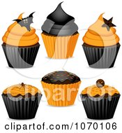 Clipart 3d Halloween Cupcakes Royalty Free Vector Illustration by elaineitalia