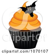 Clipart 3d Halloween Cupcake With A Bat Royalty Free Vector Illustration