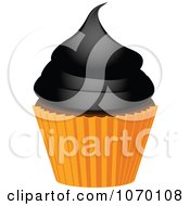 Clipart 3d Halloween Cupcake With Black Frosting Royalty Free Vector Illustration