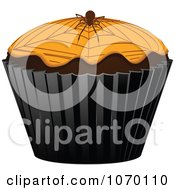 Clipart 3d Halloween Cupcake With A Spider Royalty Free Vector Illustration by elaineitalia