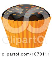 Clipart 3d Halloween Cupcake With Sprinkles Royalty Free Vector Illustration