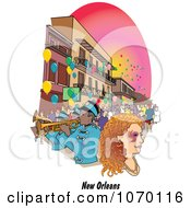 Clipart New Orleans Mardi Gras Street Scene Royalty Free Vector Illustration