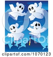 Clipart Spooky Halloween Ghosts In A Cemetery Royalty Free Vector Illustration