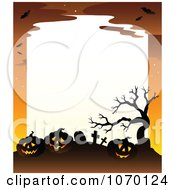 Clipart Spooky Jackolantern Cemetery Frame With White Space Royalty Free Vector Illustration