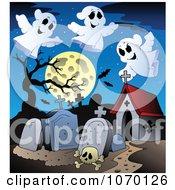 Clipart Haunted Graveyard Royalty Free Vector Illustration