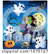 Clipart Vampire In A Haunted Cemetery 1 Royalty Free Vector Illustration