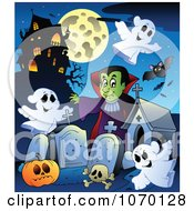 Clipart Vampire In A Haunted Cemetery 2 Royalty Free Vector Illustration