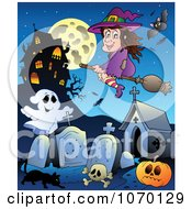 Clipart Witch Over A Haunted Graveyard Royalty Free Vector Illustration