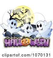 Clipart Full Moon And Cemetery Ghosts Over HALLOWEEN Royalty Free Vector Illustration by visekart