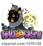Clipart Full Moon And Cemetery House Over HALLOWEEN Royalty Free Vector Illustration