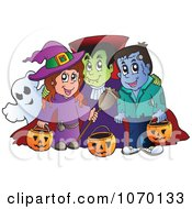 Clipart Witch Vampire Frankenstein And Ghost Trick Or Treating Royalty Free Vector Illustration
