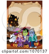Clipart Halloween Parchment Frame 4 Royalty Free Vector Illustration
