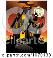 Clipart Full Moon And Haunted House 1 Royalty Free Vector Illustration