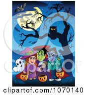 Clipart Trick Or Treaters Under A Bare Tree And Full Moon Royalty Free Vector Illustration