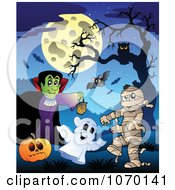 Clipart Vampire Ghost And Mummy Under A Full Moon Royalty Free Vector Illustration