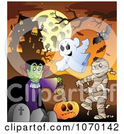 Clipart Vampire Mummy And Ghosts In A Cemetery By A Haunted House Royalty Free Vector Illustration