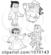 Clipart Outlined Frankenstein Witch Vampire And Mummy Royalty Free Vector Illustration