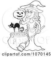 Clipart Outlined Witch With A Cat Pumpkin And Cauldron Royalty Free Vector Illustration