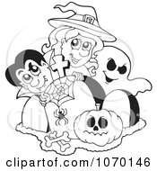 Clipart Outlined Vampire Witch And Ghost By Tombstones Royalty Free Vector Illustration