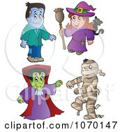 Clipart Frankenstein Witch Vampire And Mummy Royalty Free Vector Illustration