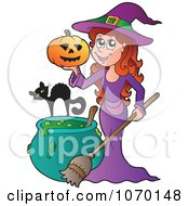 Clipart Witch Holding A Pumpkin By A Cat And Cauldron Royalty Free Vector Illustration