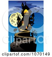 Clipart Full Moon And Haunted House 2 Royalty Free Vector Illustration